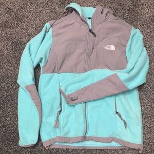 Blue and grey North Face Fleece